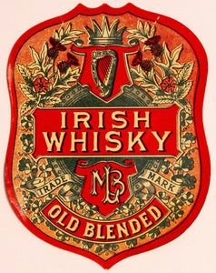MLB IRISH WHISKEY Label || Old Blended, Trademark, Vintage - TheBoxSF