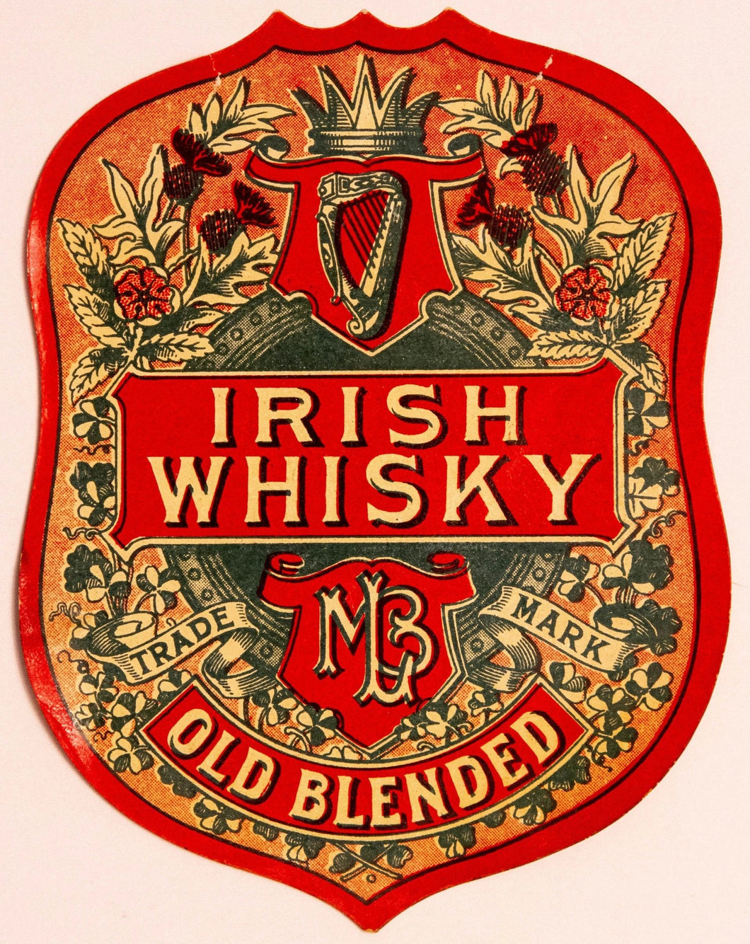 Old Vintage, MBL IRISH WHISKEY Label, Old Blended, Alcohol - TheBoxSF