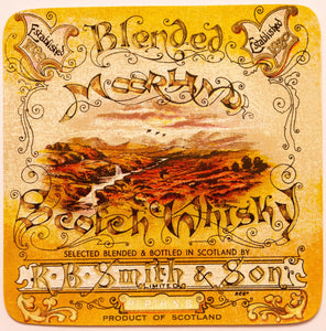 Old Vintage, MOORLAND SCOTCH WHISKEY Label, R.B. Smith & Son, Alcohol, Scotland - TheBoxSF