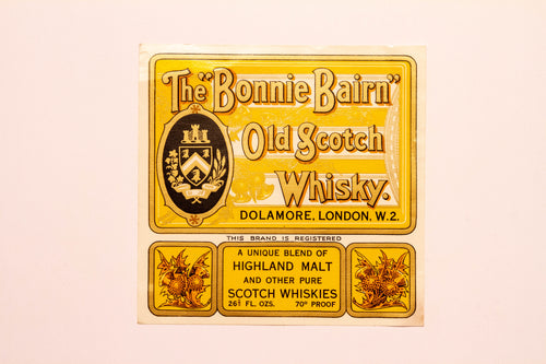 Vintage, Bonnie Bairn Old SCOTCH WHISKEY Label, London, Alcohol - TheBoxSF