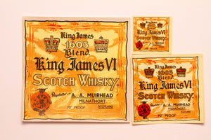 Old Vintage, 3 Piece Set, KING JAMES SCOTCH WHISKEY Labels, 1605 Blend, Alcohol - TheBoxSF