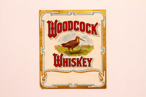 Old Vintage, WOODCOCK WHISKEY Label, Alcohol - TheBoxSF