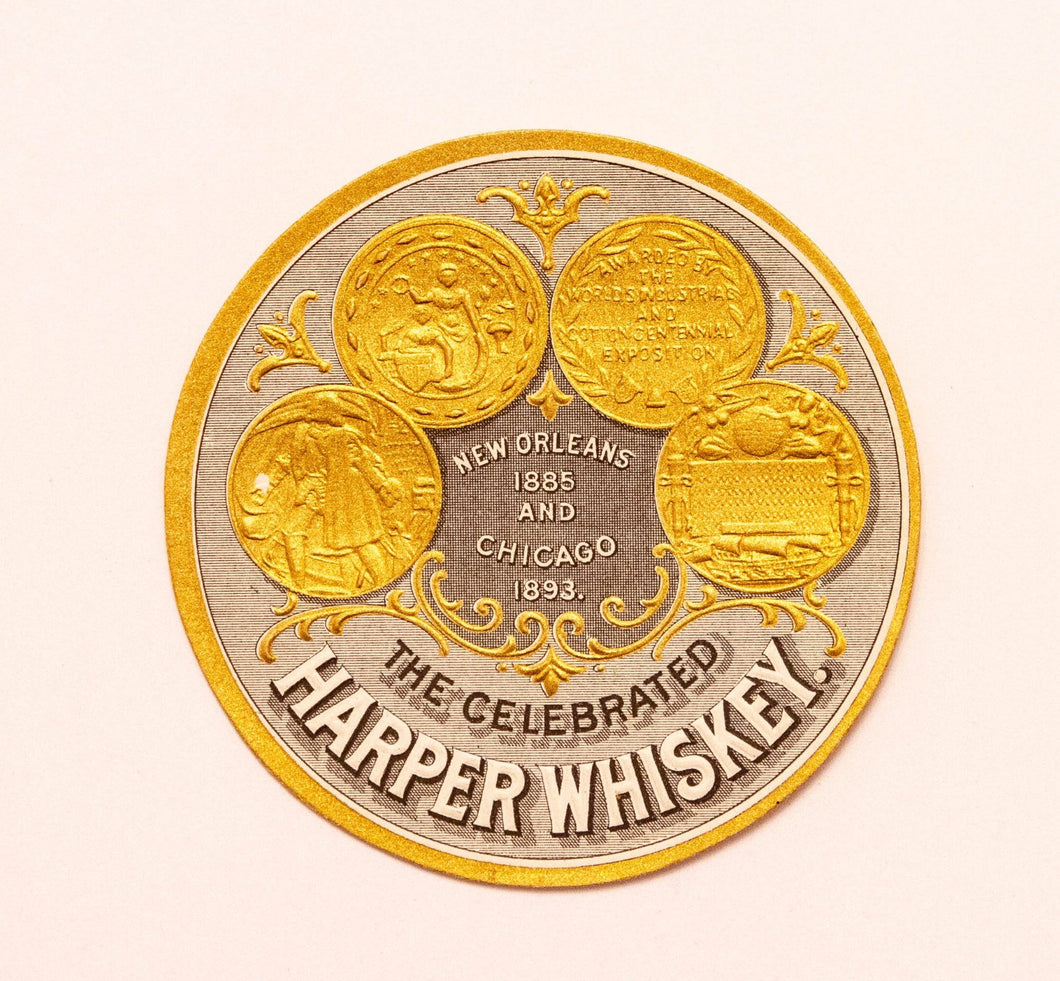 Old Vintage, Celebrated HARPER WHISKEY Label, New Orleans and Chicago, Alcohol - TheBoxSF