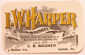 Old Vintage, I.W. HARPER WHISKEY Label, New Orleans and Chicago, Alcohol - TheBoxSF