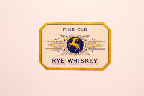 Vintage, Fine Old RYE WHISKEY Label, DEER Logo, Alcohol - TheBoxSF