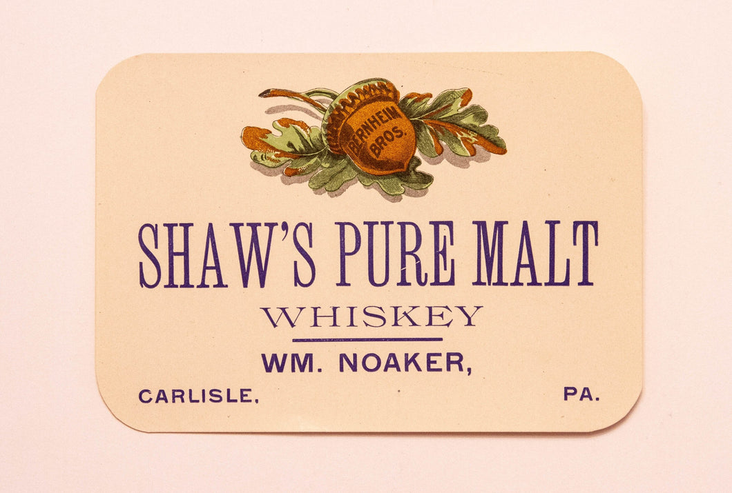 Old Vintage, SHAW'S Pure Malt WHISKEY Label, W.M. NOAKER, Alcohol - TheBoxSF