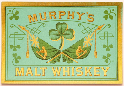MURPHY'S MALT WHISKEY Label || Clover, Vintage - TheBoxSF