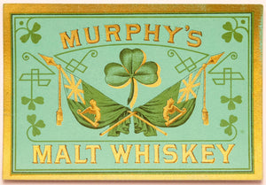 Old Vintage, MURPHY'S MALT WHISKEY Label, Alcohol, Clover - TheBoxSF