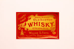 Vintage, Special Reserve Old SCOTCH WHISKEY Label, MALT, Alcohol, Gold, Red - TheBoxSF