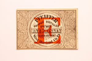 Old Vintage, PFEIFFER COOPER Reserve Pure Rye WHISKEY Label, Alcohol, Warranted - TheBoxSF