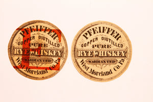 Old Vintage, Two PFEIFFER COOPER Reserve Pure Rye WHISKEY Circle Labels, Alcohol - TheBoxSF