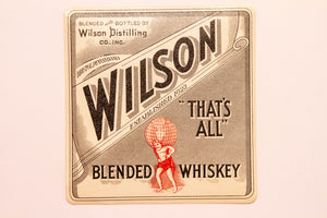 Old Vintage, WILSON Blended WHISKEY Label, Pennsylvania, Alcohol - TheBoxSF
