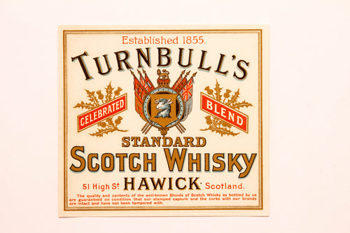 RARE Old TURNBULL'S Standard SCOTCH WHISKY Label, Hawick, Alcohol, Vintage - TheBoxSF