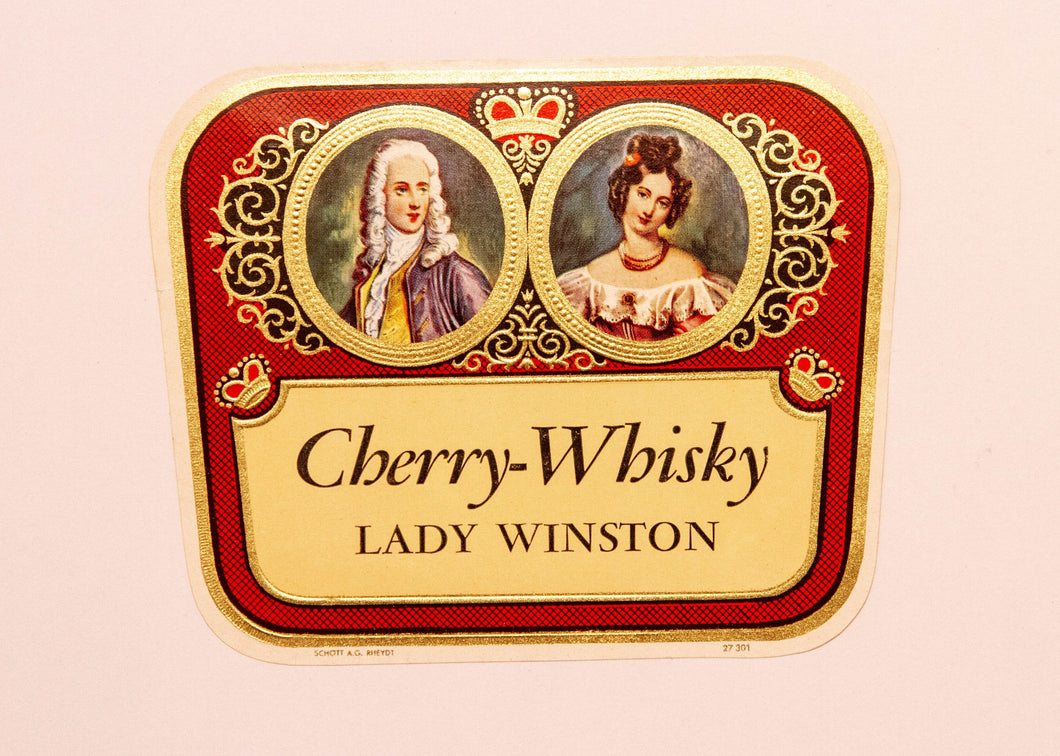 RARE Old LADY WINSTON CHERRY WHISKY Liquor Label, Alcohol, Vintage - TheBoxSF