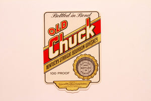 RARE Old CHUCK KENTUCKY Straight Bourbon WHISKEY Label, Alcohol, Vintage - TheBoxSF