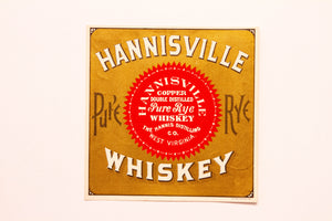 Old Vintage, Old HANNISVILLE Rye WHISKEY Label, GOLD, Copper Double Distilled - TheBoxSF