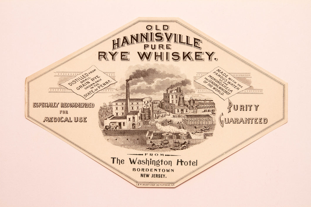 Old Vintage, Old HANNISVILLE Pure RYE WHISKEY Label | Washington Hotel | Alcohol - TheBoxSF