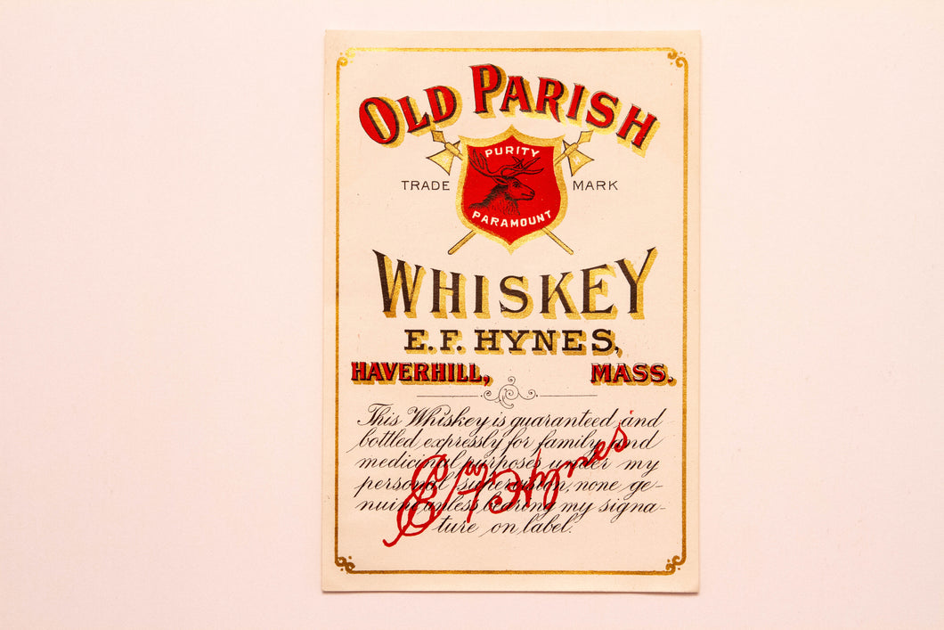 Vintage, Old Parish WHISKEY Label E.F. Hynes, Haverhill, Alcohol, Gold - TheBoxSF