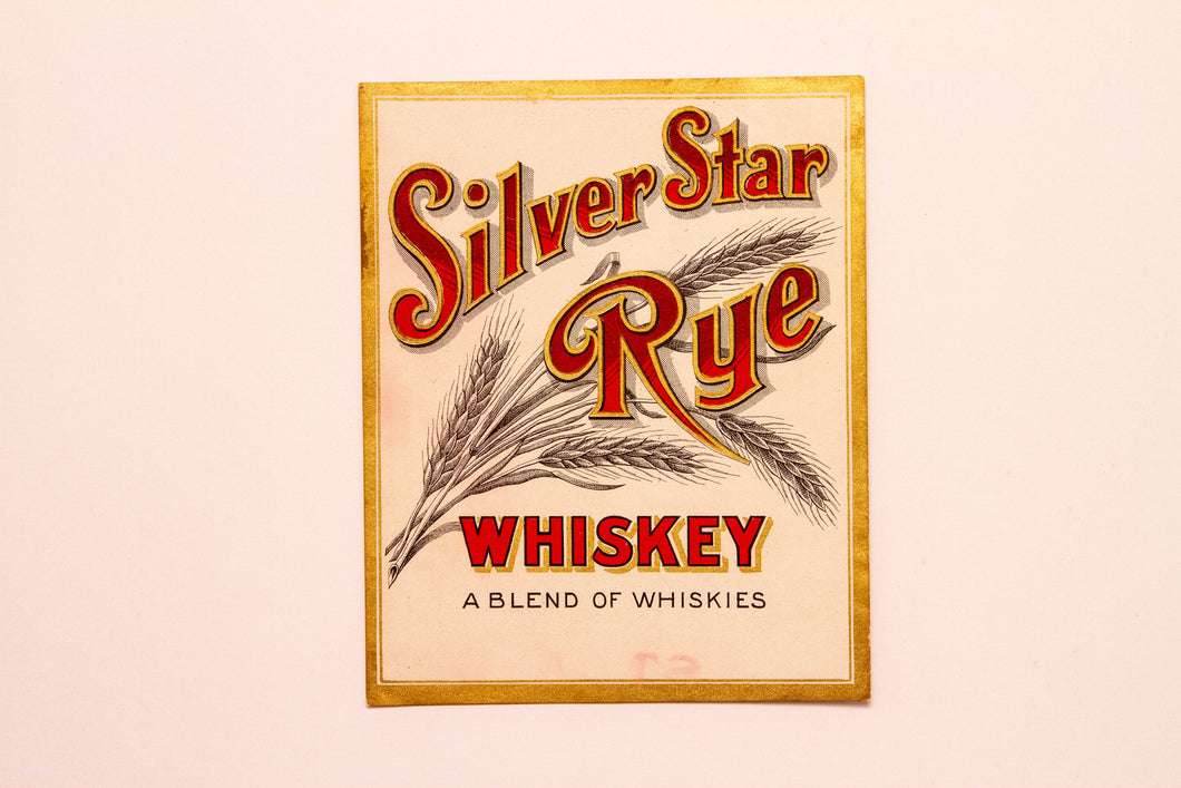 Old Vintage, SILVER STAR Rye WHISKEY Label, Alcohol - TheBoxSF