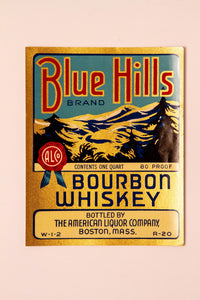 Set of 3, BLUE HILLS Brand Bourbon WHISKEY Label, Boston, Alcohol, Vintage - TheBoxSF