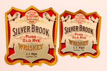 Load image into Gallery viewer, Set of Two SILVER BROOK Pure Old Rye WHISKEY Labels, C.B. Wagner, Alcohol, Vintage - TheBoxSF