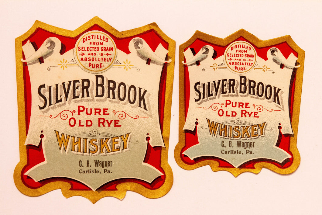 Set of Two SILVER BROOK Pure Old Rye WHISKEY Labels, C.B. Wagner, Alcohol, Vintage - TheBoxSF