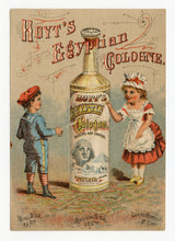 Load image into Gallery viewer, Victorian Hoyt's Egyptian Cologne Trade Card || Pharmacy, Sphinx, Children