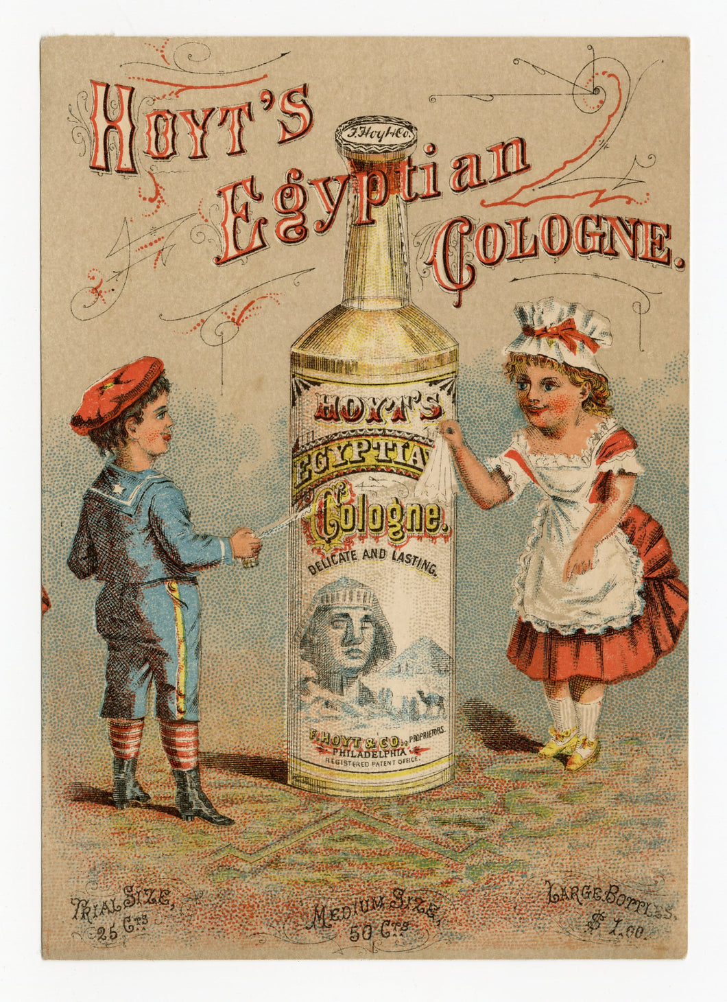 Victorian Hoyt's Egyptian Cologne Trade Card || Pharmacy, Sphinx, Children