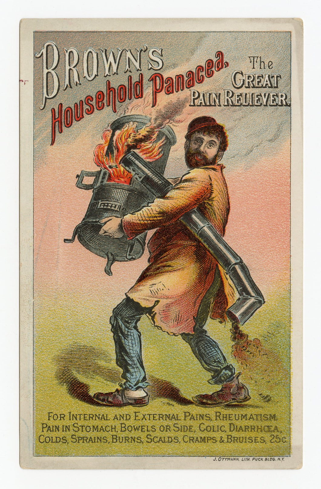 Victorian Brown's Household Panacea, Quack Medicine Trade Card || Furnace Fire