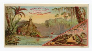 Victorian Ayer's Ague Cure, Quack Medicine Trade Card || Alligator, Frogs