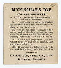 Load image into Gallery viewer, Victorian Buckingham's Dye for Whiskers Trade Card || Gentlemen