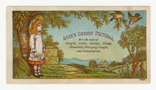 Load image into Gallery viewer, Victorian Ayer's Cherry Pectoral, Quack Medicine Trade Card || Girl, Farm