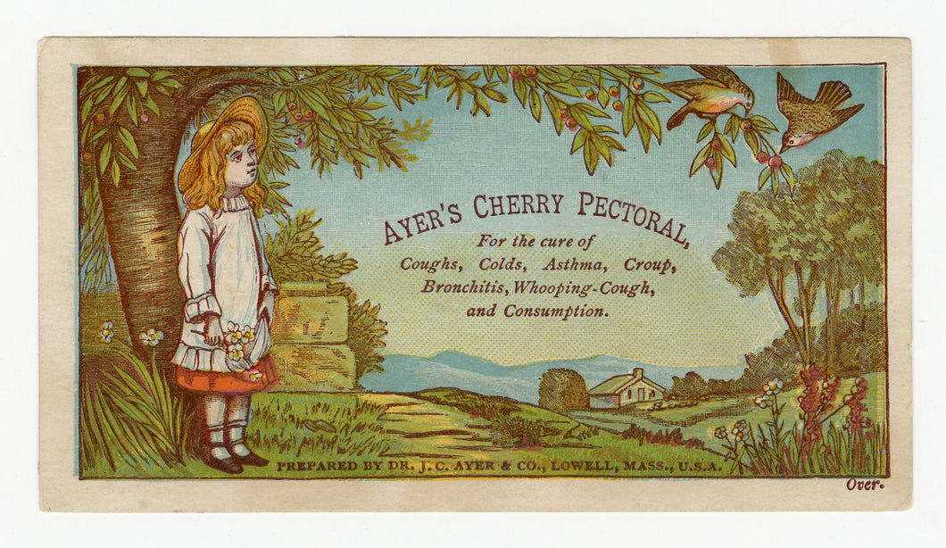 Victorian Ayer's Cherry Pectoral, Quack Medicine Trade Card || Girl, Farm