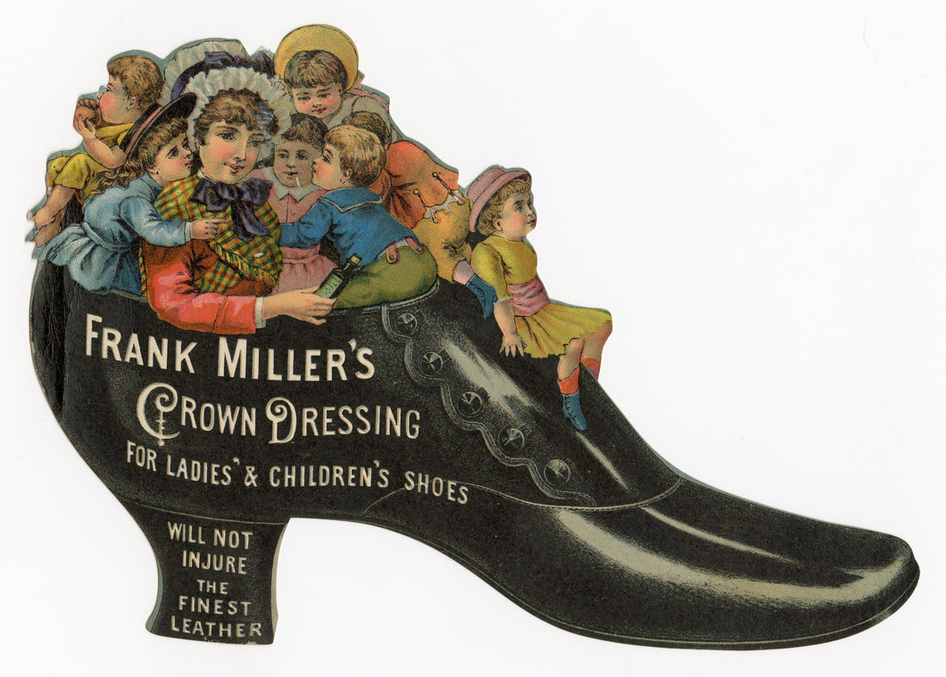 Victorian Frank Miller's Crown Dressing Shoe Polish Trade Card || Kids in Shoe