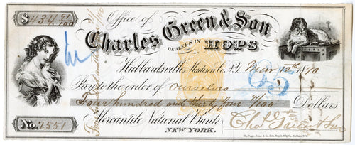November 1869 Antique BANK CHECK, Charles Green & Son, New York || Dealers in Hops