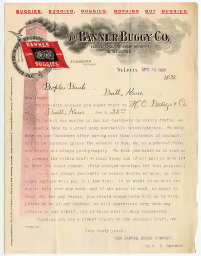1901 BANNER BUGGY CO. LETTERHEAD, Color Document, Transport, Chimney
