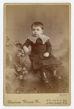 Load image into Gallery viewer, Victorian CABINET CARD, New York, New York, American Portrait Co. || Young Boy