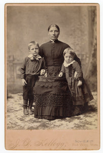 Victorian CABINET CARD, Red Wing, Minnesota|| Seated Woman with Two Boys