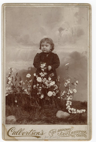 Victorian CABINET CARD, East Liverpool, Ohio, Cullertson's Art Studio || Girl with Flowers, Waterfall background