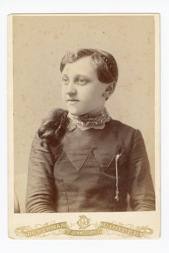 Victorian CABINET CARD, St. Johnsbury, Vermont, Dickerson and Cooper || Girl's Portrait