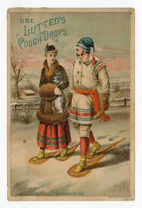Victorian Lutters' Cough Drops, Medicine Trade Card || Snowshoeing