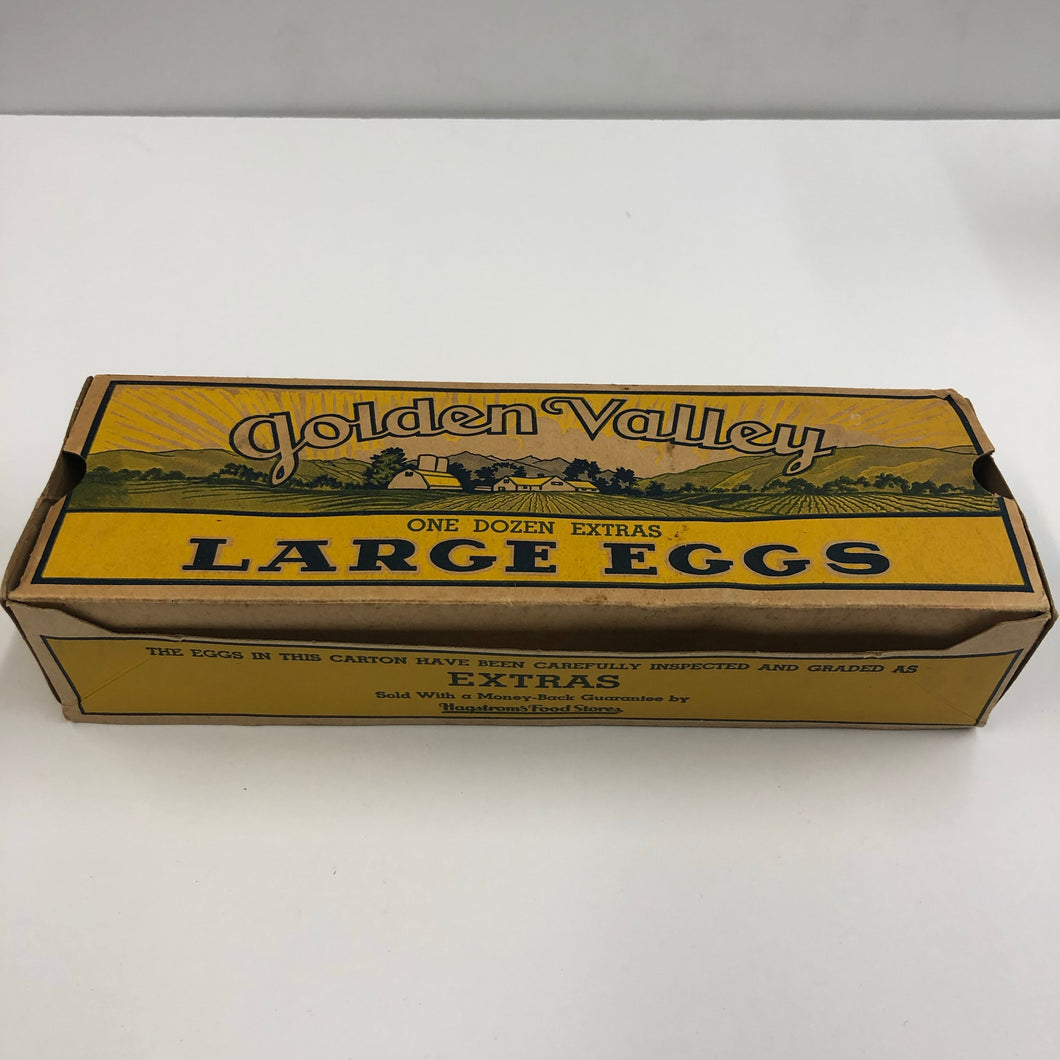 Antique Art Deco Era Golden Valley Cardboard Eggs Box, Vintage Kitchen