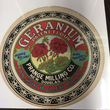 Load image into Gallery viewer, Old Vintage, GERANIUM Patent FLOUR Barrel Label, Anchor Roller Mills, Prance Milling Co., Vintage - TheBoxSF