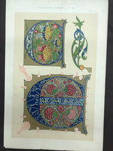 Load image into Gallery viewer, Beautiful Chromolithograph Book Plate Illuminated Letters About 150 Years Old - Plate Number 57