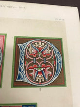 Load image into Gallery viewer, Beautiful Chromolithograph Book Plate Illuminated Letters About 125 Years Old - Plate Number 36