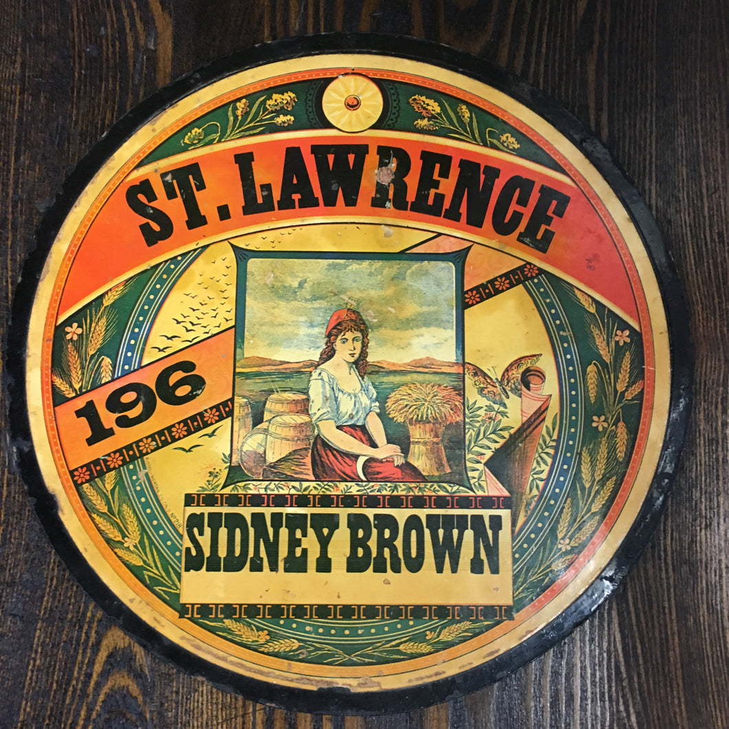 Old St. Lawrence SIDNEY BROWN Flour Label/Sign, Vintage - TheBoxSF