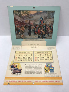 1938 BACH COAL COMPANY Promotional Calendar featuring Christmas Cover