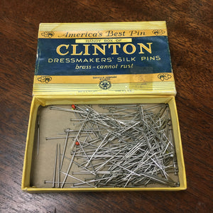 Box of CLINTON Dressmakers SILK Pins, Brass, America - TheBoxSF