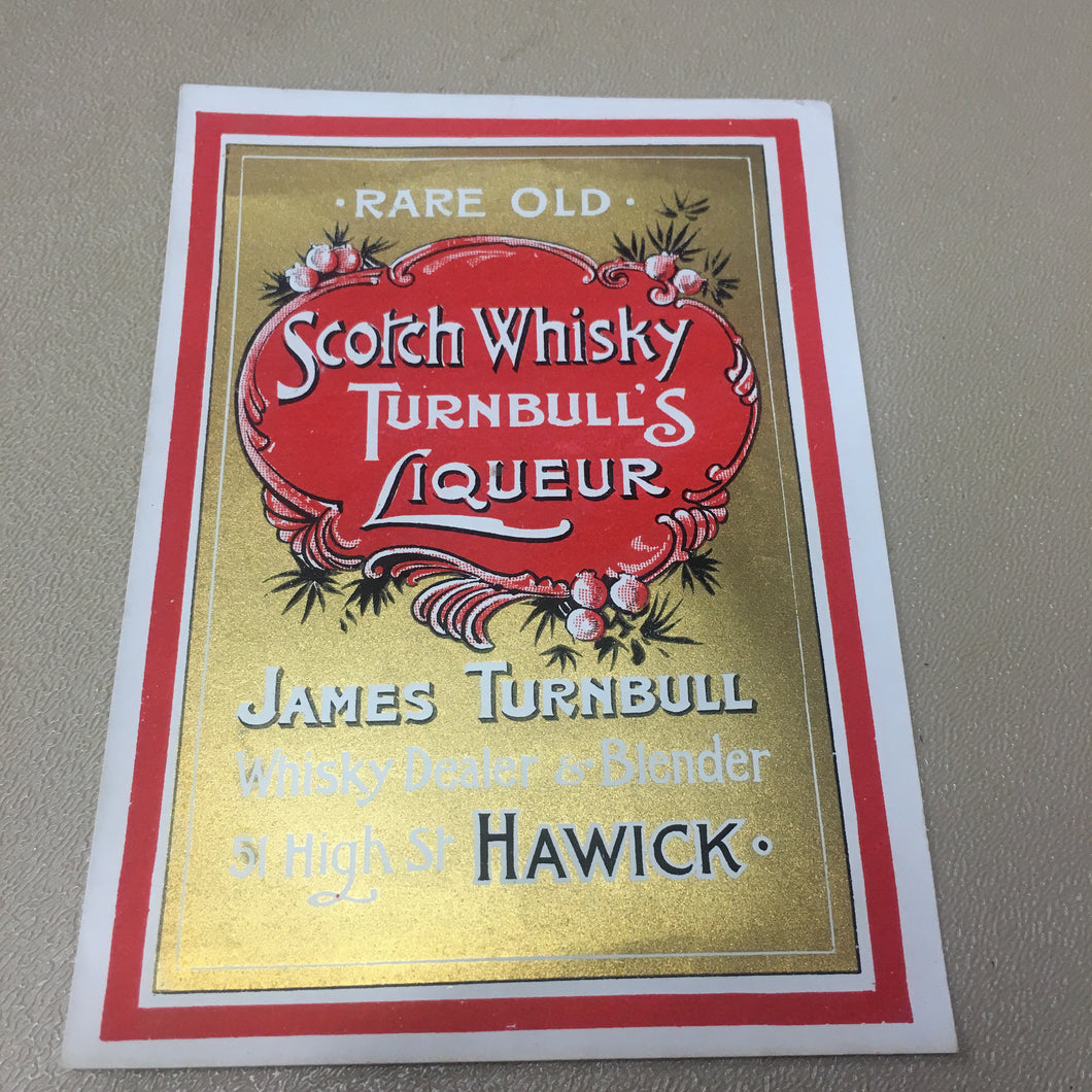 RARE Old SCOTCH WHISKY TURNBULL'S Liqueur Label, Alcohol, Vintage - TheBoxSF