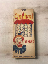 Load image into Gallery viewer, Vintage Carnival Straws Packaging with Original Straws Inside by National Soda Straw Company - TheBoxSF